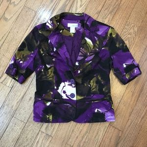 Spiegel Purple Size 2 Short Sleeve Blazer Top